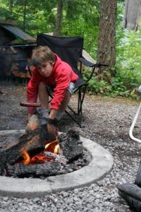 Hayd roasting hot dogs