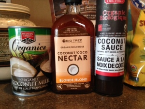 Coconut nectar is a delicious low-glycemic sweetener, coconut sauce is a soy sauce replacement and basically just coconut everything fills our cupboards!