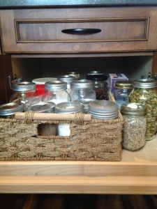 Round up as many jars as you can from a local thrift store to house all of your new flours!