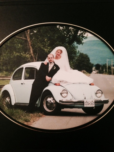 There she is in all her first car glory.  Enhancing our wedding photos with her beauty.  I'm pretty sure she's the only one who's gotten better with age!